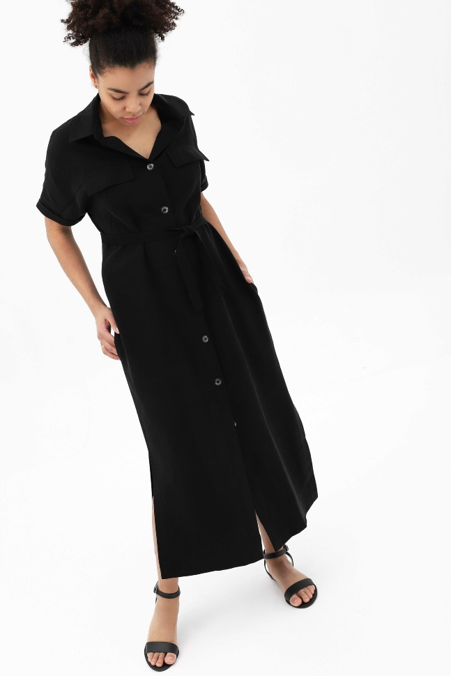 Купить Платье-рубашка черное