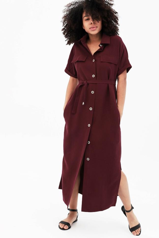 Купить Платье-рубашка бордовое