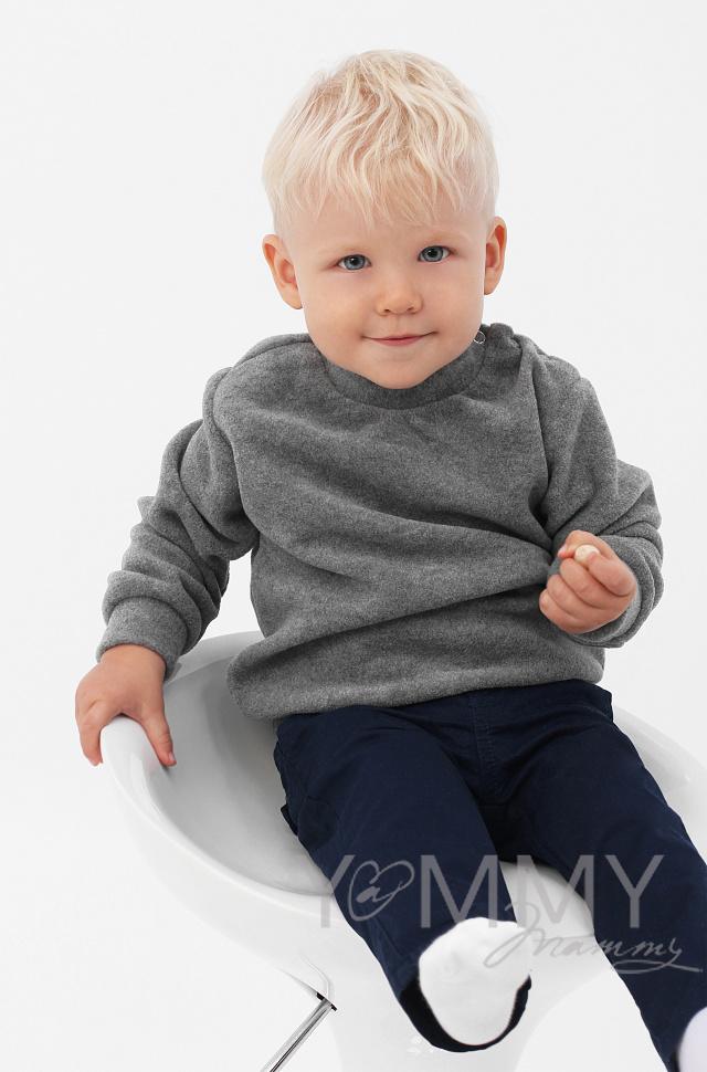 Купить Детский флисовый свитшот серый меланж